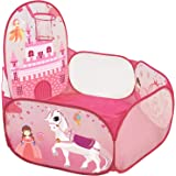 GEDIAO Ball Pit for Girls - Baby Crawl Playpen - Indoor/Outdoor Pop Up Balls Pit with Basketball Hoop & Zippered Storage Bag