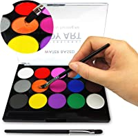 Face Paint Kit for Kids, Professional Quality Face & Body Paint, Hypoallergenic Safe & Non-Toxic, Easy to Painting and Washing, Ideal for Halloween Party Face Painting, 15 Colors with Two Brush (Pack of 15-Body Art)