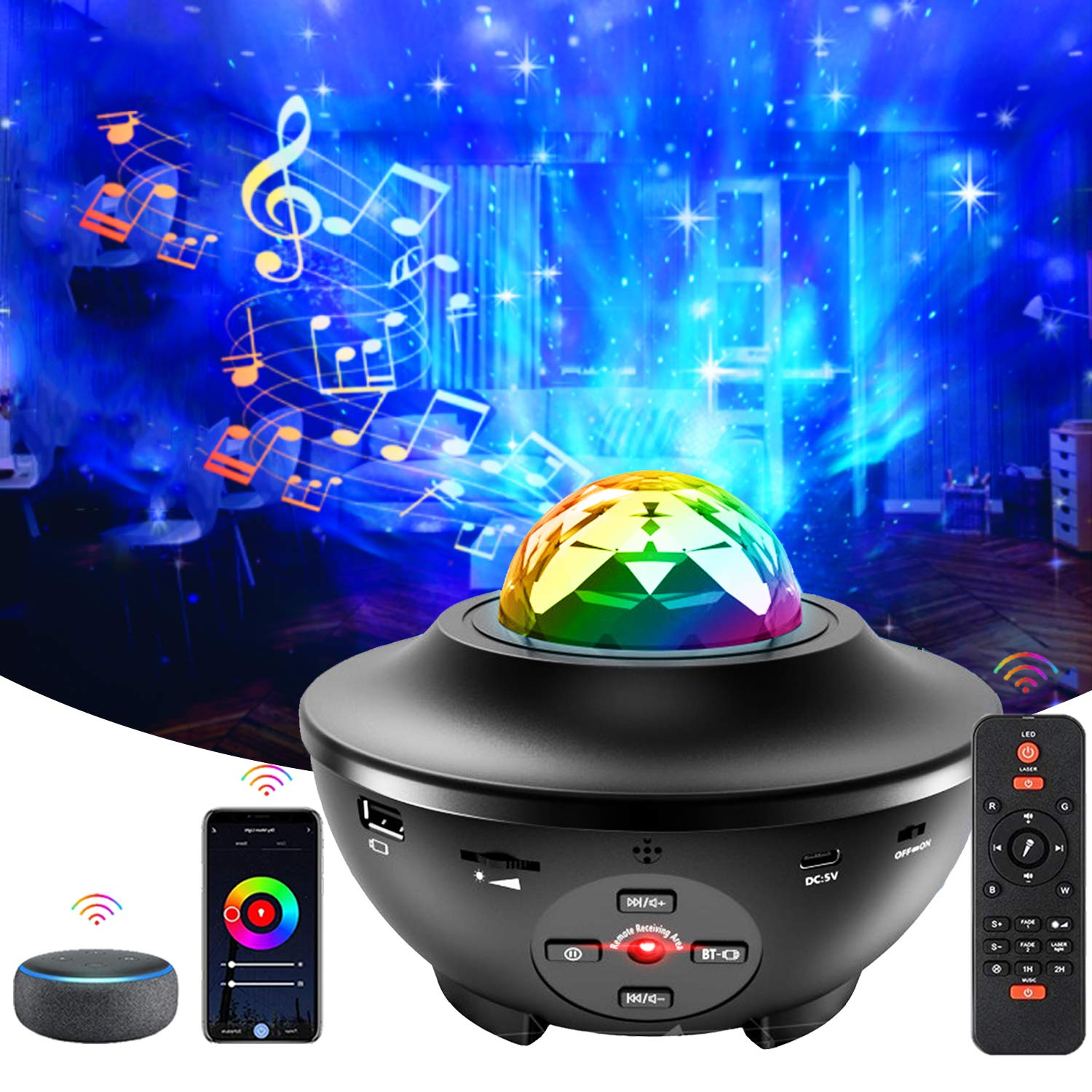 Galaxy Projector, Star Projector 3 in 1 Night Light Projector Working with Smart App & Alexa, Google Assistant, Starlight Projector with Music Speaker & Remote Control for Bedroom Kids Adults