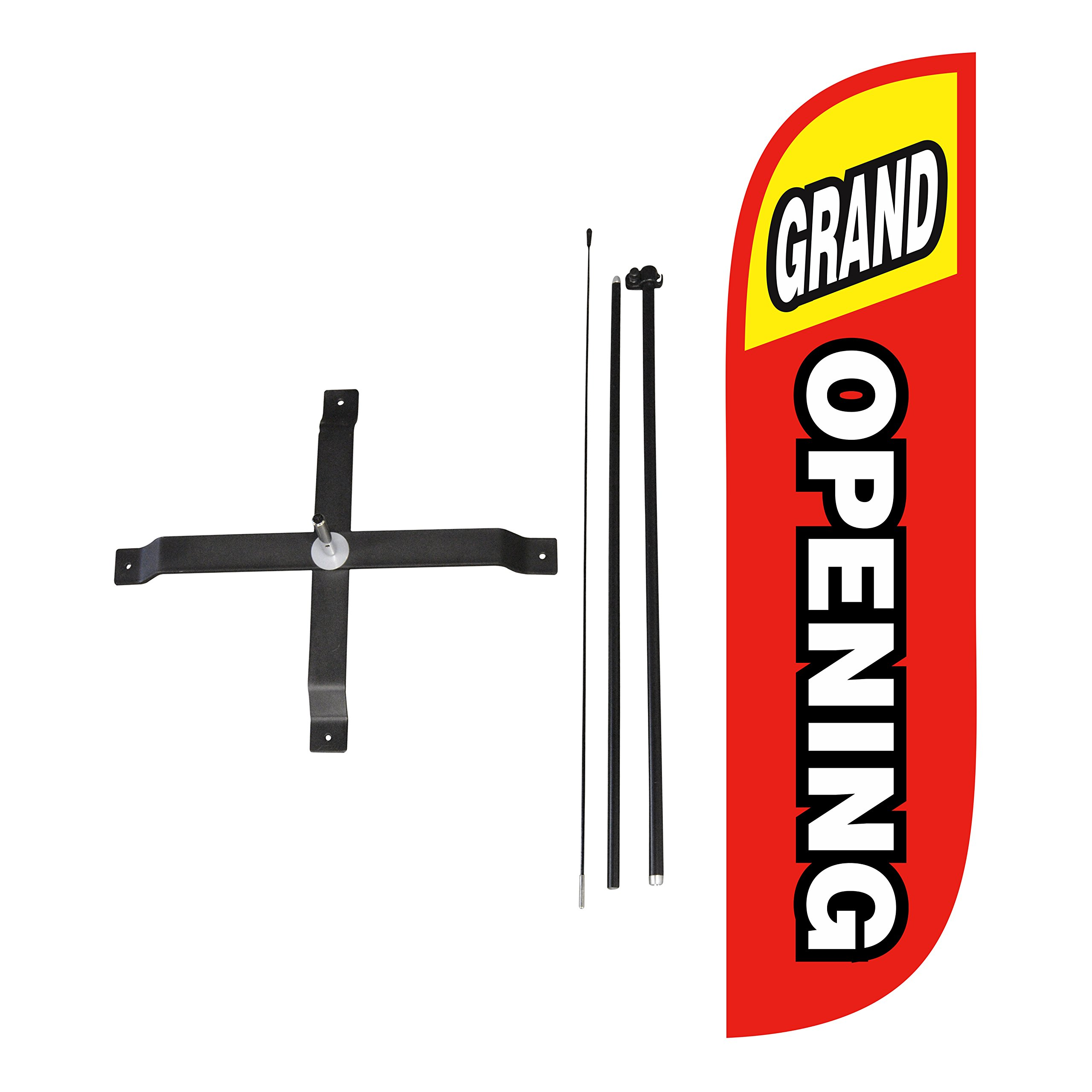 LookOurWay Grand Opening Red & Yellow Feather Flag Complete Set with Poles & X-Stand, 5-Feet