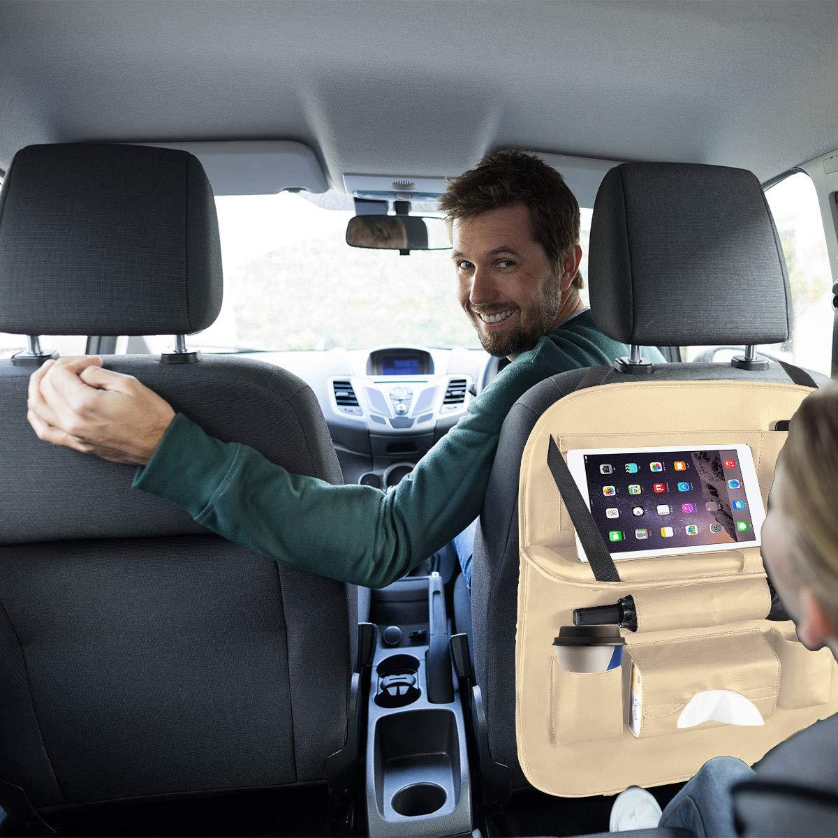 1 St/ück Tablet//Telefon Aufbewahrung ACGAM Auto R/ückenlehnenschutz Beige Wasserdicht Autositz Organizer mit vielen Sack Multifunktionale Auto Aufbewahrungstasche f/ür Auto Ordentlich