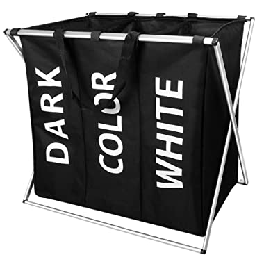 WIFUME New 3 Sections Laundry Hamper Basket with Handle Folding Aluminum X-Frame 25  L×15  W×22  H Durable Dirty Clothes Bag for College Apartment Home Use Black