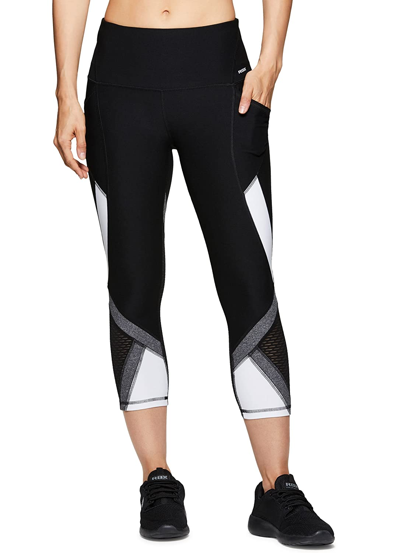 RBXアクティブレディースCapri Legging with Mesh Inserts and Xストラップ B07D5P8H9V Medium|Lace White Lace White Medium
