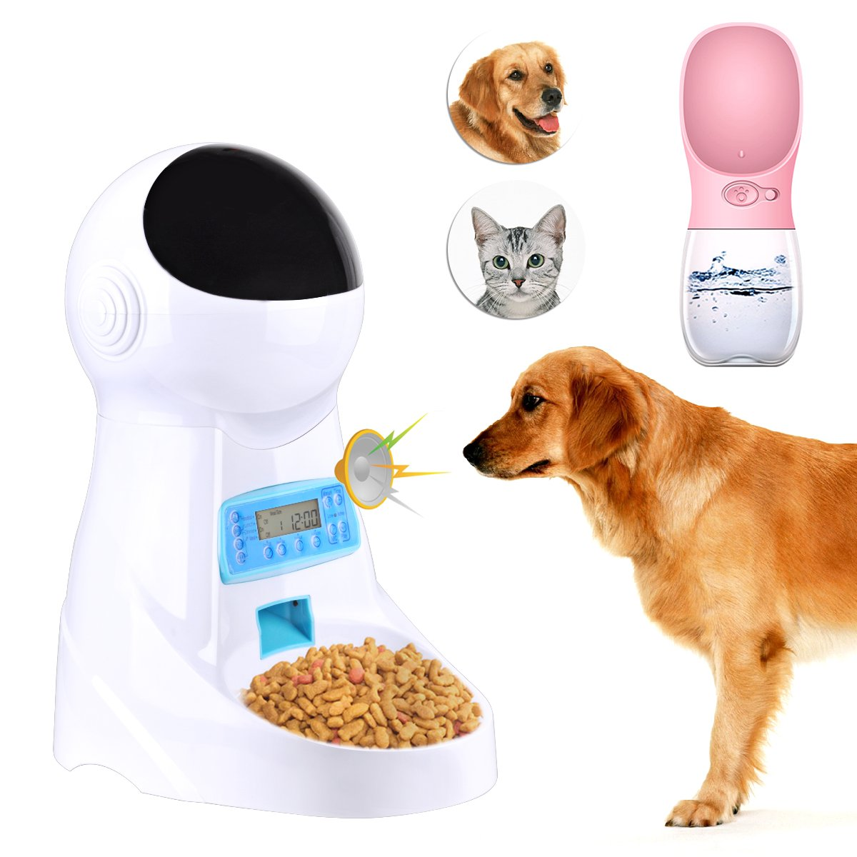 Congerate Automatic Pet Feeder Dog Cat Feeder Food Dispenser with Timer, LCD Display and Sound Recording And Pet Water Feeder Bottle (Pink)