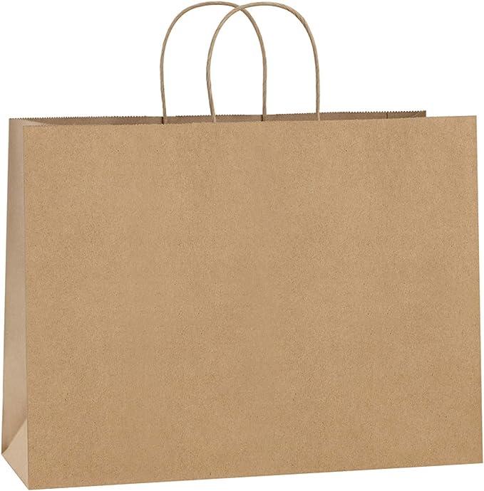 Amazon.com: BagDream - Bolsas de papel kraft (16.0 x 6.1 x 12.0 in, 50 unidades, con asas de papel marrón a granel, 100 % reciclables, grandes bolsas de regalo: Arte, Manualidades y Costura