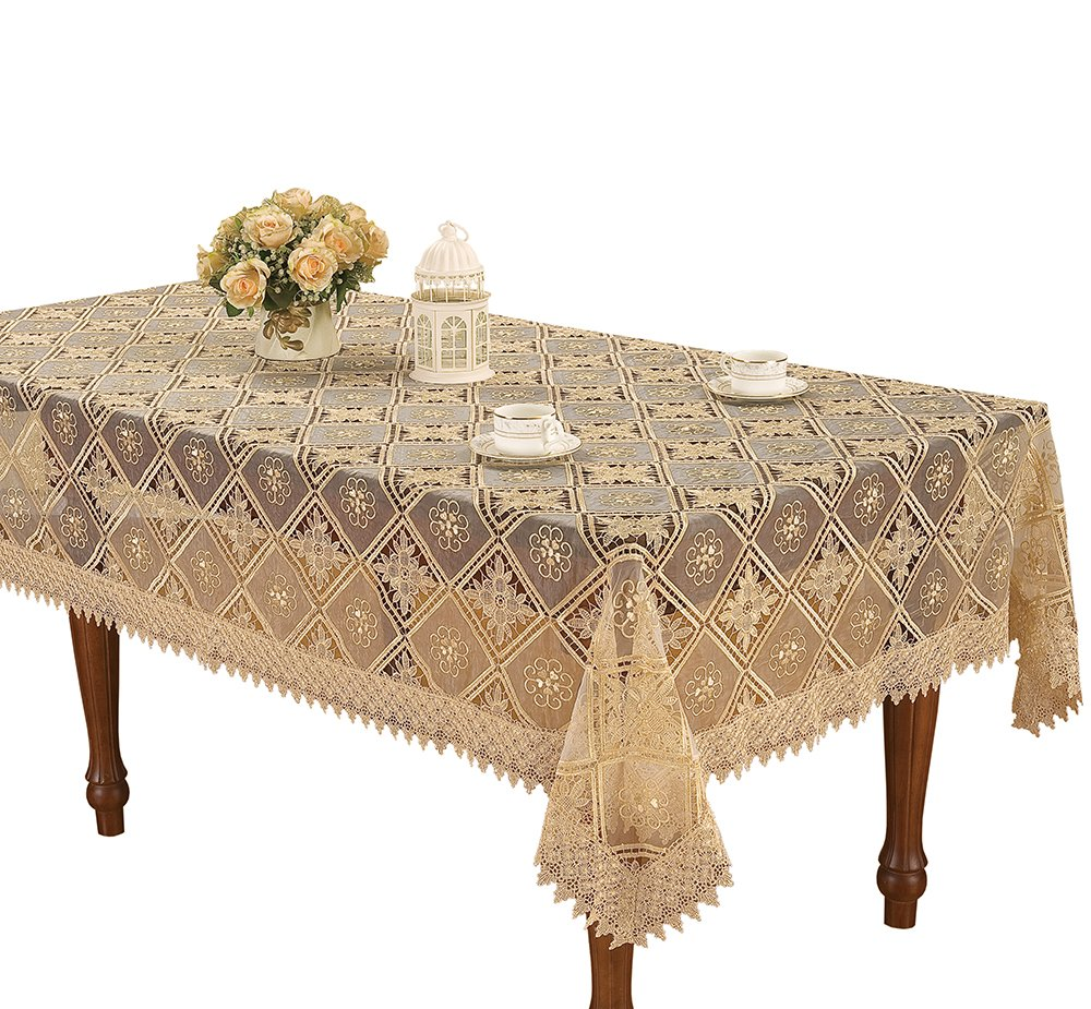 Simhomsen Oval Beige Lace Tablecloth Embroidered Linens For Dining Table Customer Order (60 x 84-inch oval) by Simhomsen (Image #1)