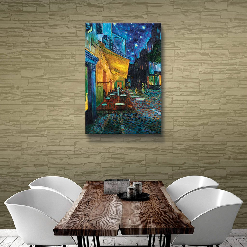 ArtWall Cafe Terrace at Night Floater Framed Gallery-Wrapped Canvas Art by Vincent Van Gogh Holds 22.5 by 30.5-Inch Image 0van006a2432f 24 by 32-Inch