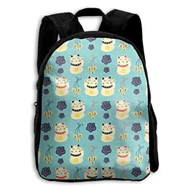 STUSHOUDLE Chinese Fortune Cats Pattern Childrens  Backpack 583159cee832e