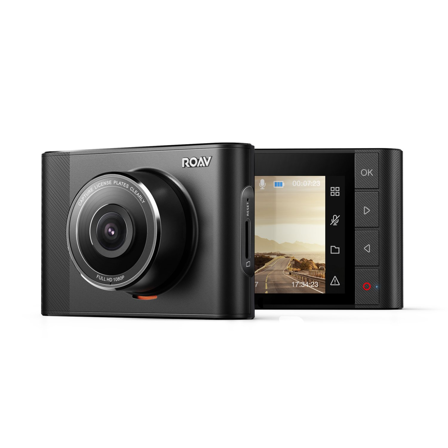Roav by Anker, DashCam A1, Dash Cam, Dashboard Camera Recorder, 1080P FHD, Nighthawk Vision, Wide-Angle View, WiFi, G-Sensor, WDR, Loop Recording, and Night Mode