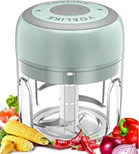 Electric Mini Garlic Chopper Mincer, Yoelike Portable Cordless Vegetable Food Processor, Handheld USB Rechargeable Powerful Blender for Onion, Grinder, Meat and Salad(Green, 250ml)