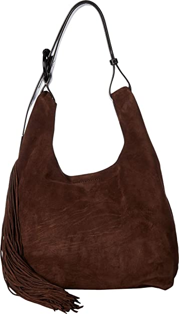 f1e492c9d6c Amazon.com  Rebecca Minkoff Women s Karlie Fringe Hobo Ganache One Size   Shoes