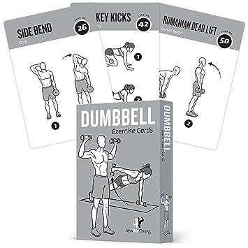 Tarjetas de ejercicios en casa con mancuernas, ejercicios y entrenamiento de fuerza, desarrollo muscular total, ...