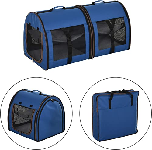 PawHut 39 Soft-Sided Portable Dual Compartment Pet Carrier