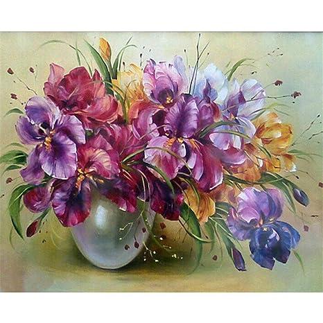 De Lamp Rahmenlos Diy ölgemälde Bunte Blume Malen Nach Zahlen Für