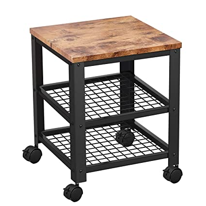 Trustiwood Vintage Rolling Kitchen Cart, 3-Tier Industrial Serving Utility  Cart on Locking Wheels with Storage Shelves for Living Room,Bedroom Wood ...