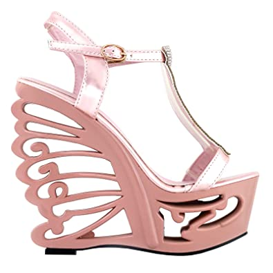 8f63fcf8e6cb SHOW STORY Baby Pink T Strap Bride Wedding Wedge Butterfly Heel Sandals  Shoes