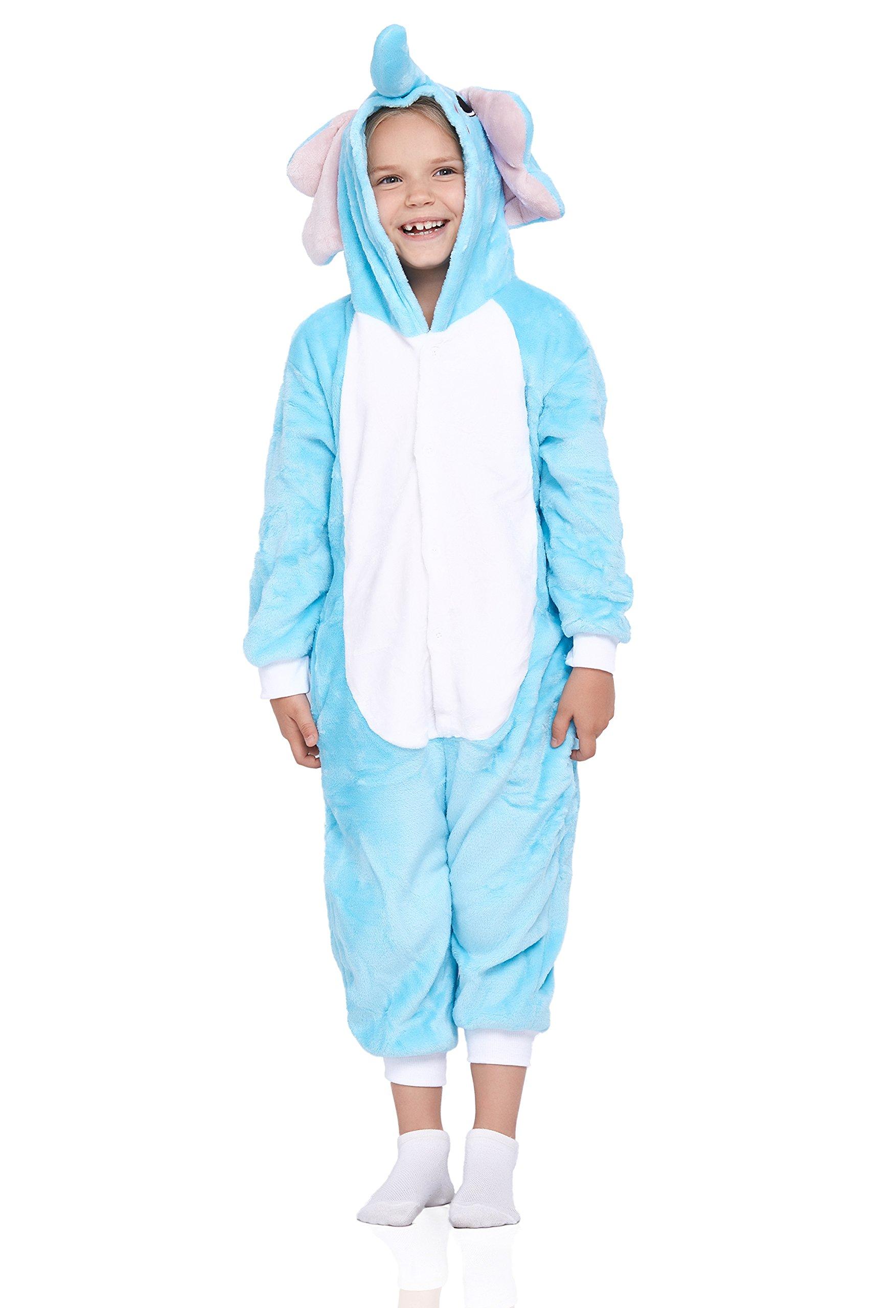 Nothing But Love Kids Elephant Pajamas Animal Onesie Kigurumi Plush Soft One Piece Cosplay Costume (Small, Light Blue)