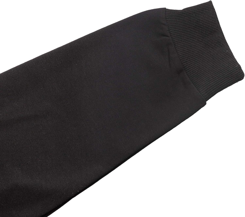 MINGLIN Herren Fleece-Sweatshirt, Rundhalsausschnitt Schwarz