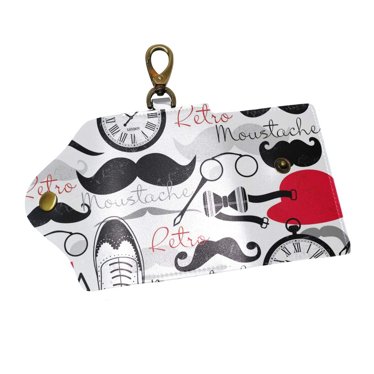 KEAKIA Polka Dots Leather Key Case Wallets Tri-fold Key Holder Keychains with 6 Hooks 2 Slot Snap Closure for Men Women