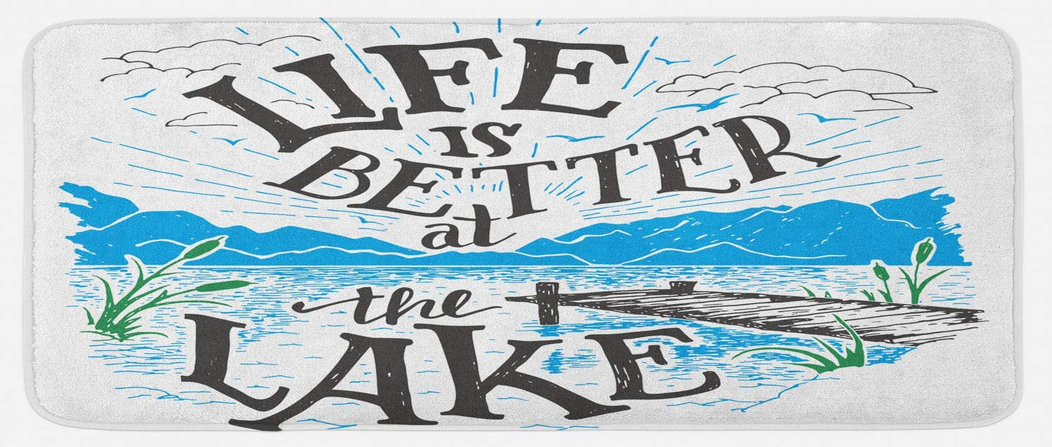 "Lunarable Cabin Kitchen Mat, Life is Better at The Lake Wooden Pier Plants Mountains Sketch Art, Plush Decorative Kitchen Mat with Non Slip Backing, 47"" X 19"", Charcoal Grey"