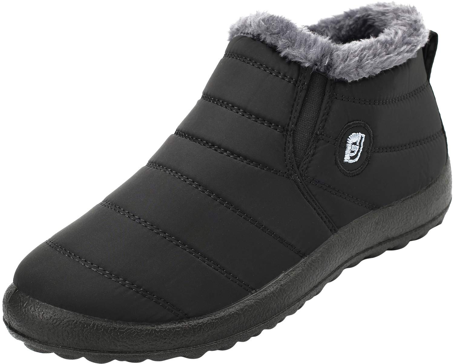 FEETCITY Mens Anti-Slip Snow Boots with Fully Fur Lined High Top/Low Top Black 11 D(M) US