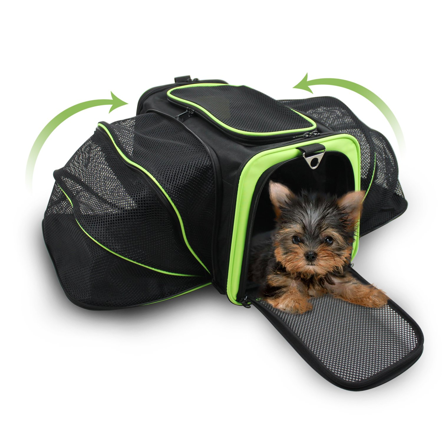 Jespet Expandable Airline Approved Pet Carrier with with Fleece Mat by, Foldable Soft Sided Travel Dog Carrier for Cats Kitten Puppy (16'' L x 9'' W x 9'' H, Black + Neon Green) by Jespet (Image #1)