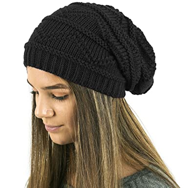 448c963d372 TOSKATOK Ladies Knit Slouch Winter Hat Beanie - BLACK  Amazon.co.uk ...