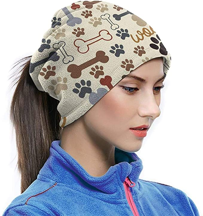 Dog Paw Prints Bones Neck Warmer Gaiter For Men Women Headband Face Mask Bandana Head Wrap Scarf Headwear Winter Balaclava For Ski Running Motorcycle