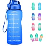 4AMinLA Motivational Water Bottle 64/100oz Half Gallon Jug with Straw and Time Marker Large Capacity Leakproof BPA Free Fitne