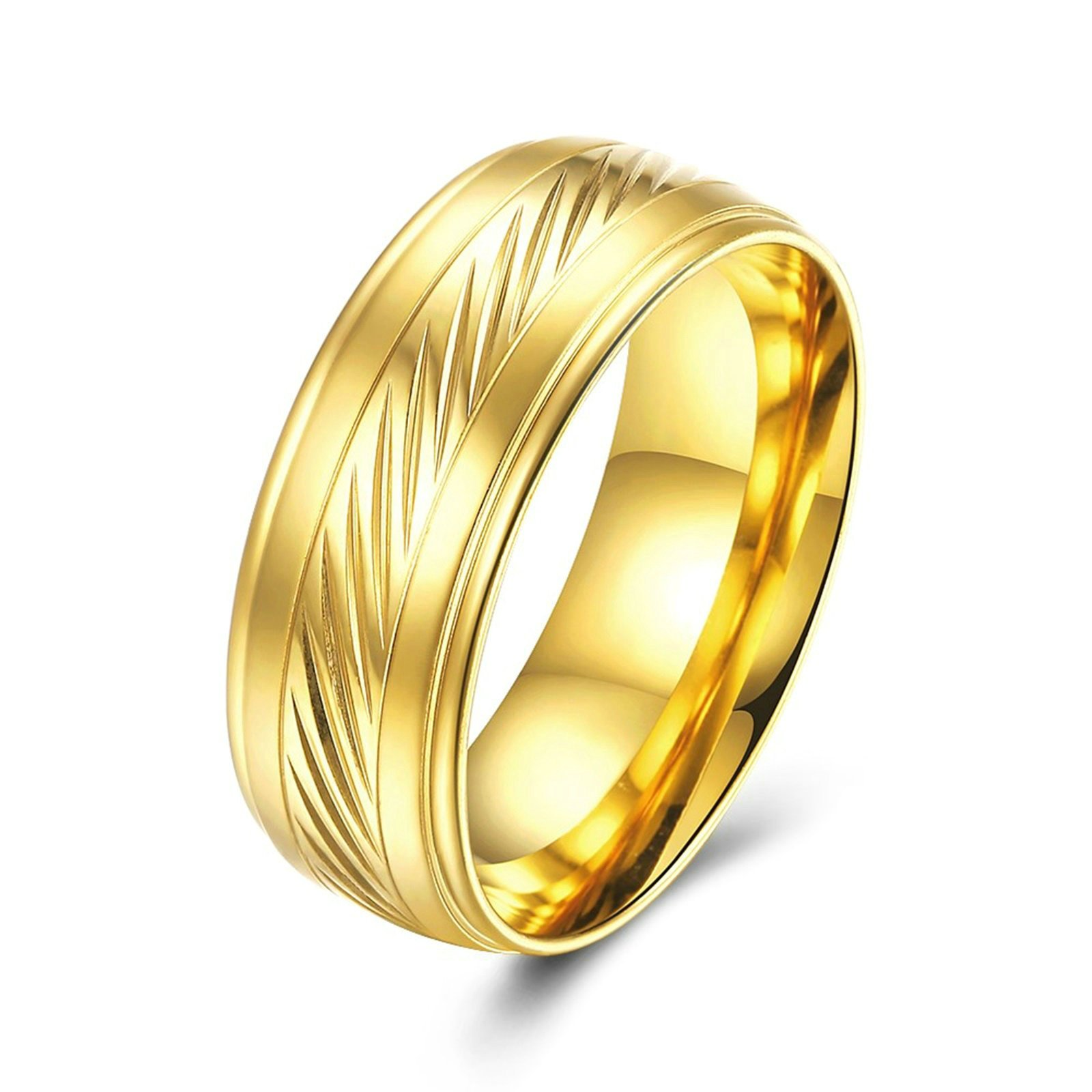 Epinki Gold Plated Men Ring 8Mm Gold Ring Cubic Zirconia Wedding Ring Size 8 Men Accessories