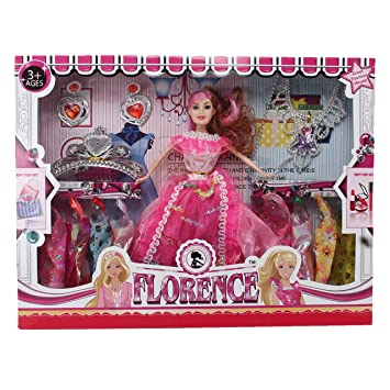Barbie doll Silver Necklace W// PURPLE RECTANGLE STONES