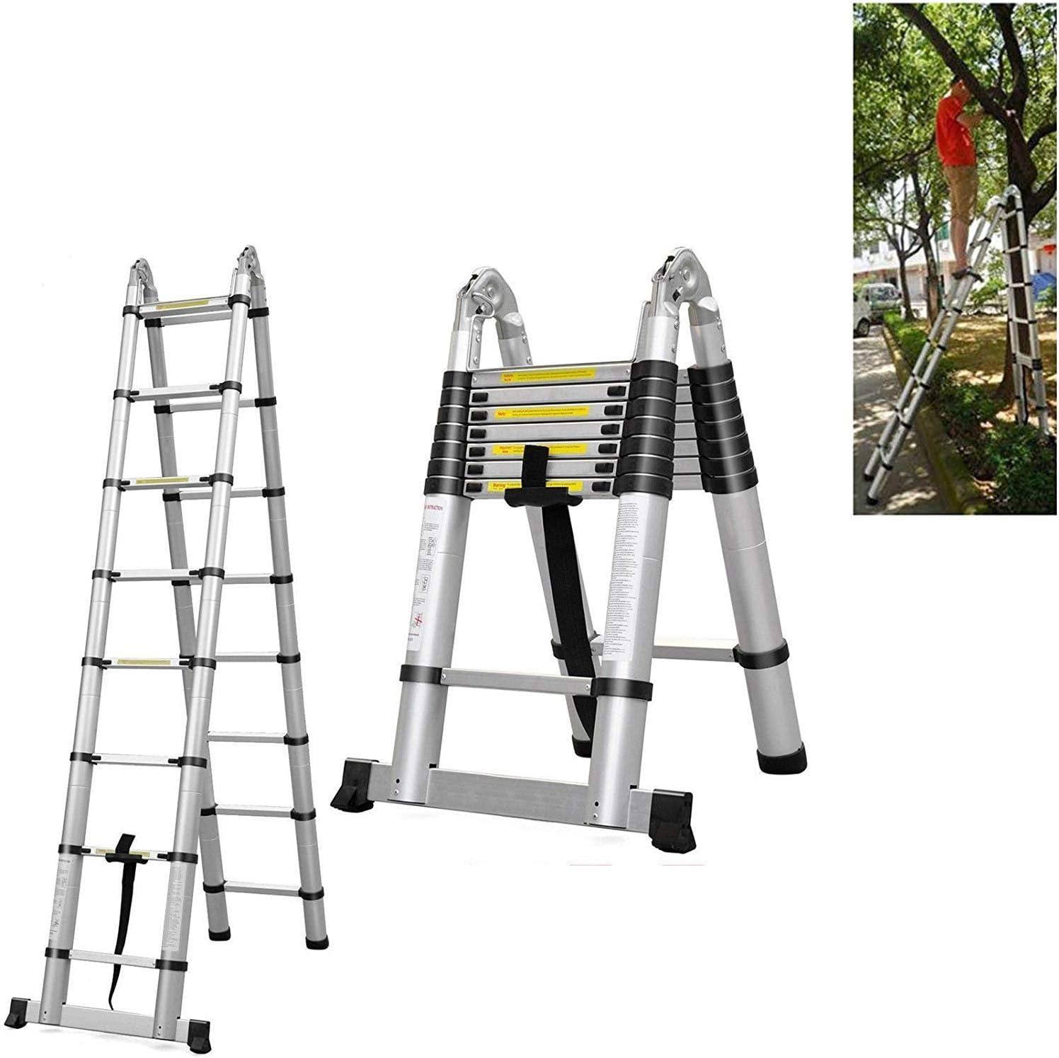 Escalera telescópica plegable multiusos de aluminio, 5 m, marco extensible, 16 pasos 2018, nuevo diseño: Amazon.es: Bricolaje y herramientas