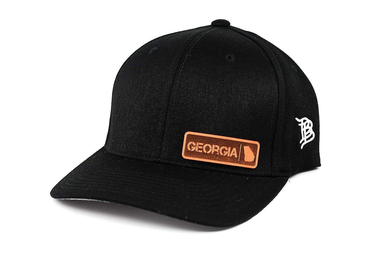 Branded Bills /'Georgia Native Leather Patch Hat Flex Fit LG//XL//Black