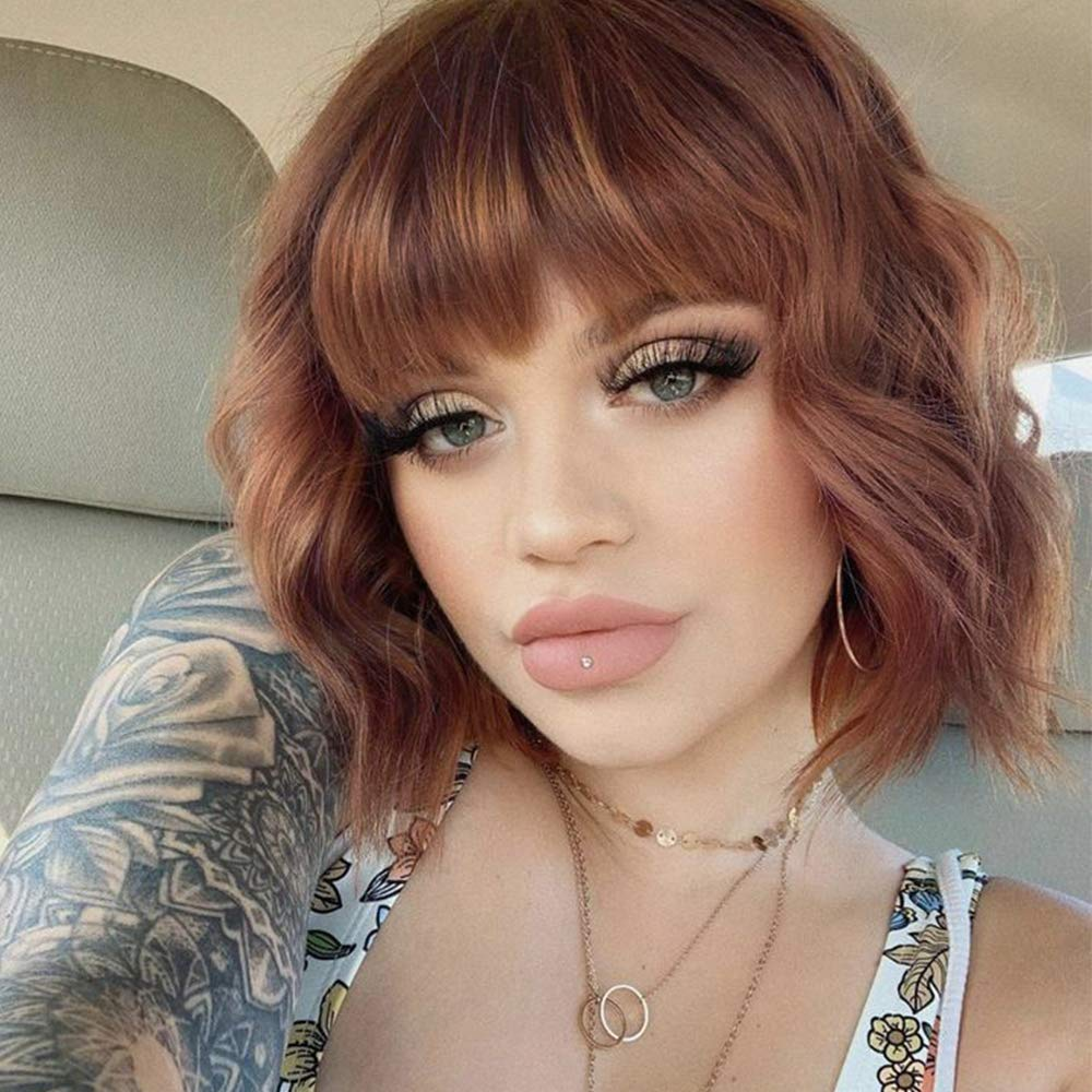 ENTRANCED STYLES Synthetic Curly Bob Wig with Bangs Short Bob Wavy Hair Wig Shoulder Length Wigs for Women Bob Style Synthetic Heat Resistant Wigs