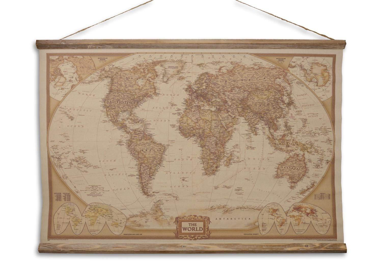 Aubaho Landkarte Weltkarte historische Karte 90cm Wandkarte Kontinente Antik-Stil World