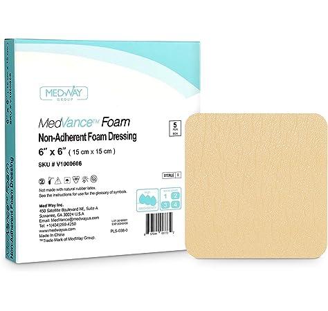 MedVancTM Espuma - Apósito de espuma hidrofílica no adhesiva impermeable 15 cm x 15 cm Caja de 5 apósitos: Amazon.es: Salud y cuidado personal