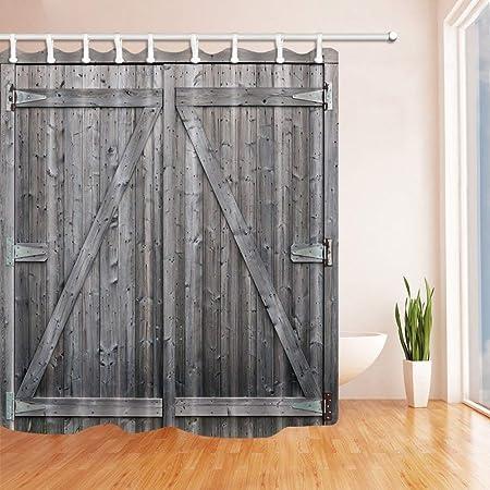 gwegvhvg - Cortina de baño de Estilo Vintage, Color Gris rústico, Puertas de Madera de Granero en