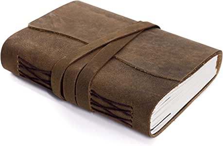Handmade Leather Journal/Writing Notebook Diary/Bound Daily Notepad For Men & Women Unlined Paper Medium 8 x 6 Inches, writing pad gift for artist, sketch (Brown Tan, 7 x 5 Inches)