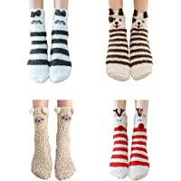 4 Pairs Christmas Fuzzy Socks Thick for Kids, Cute Animal Sheep dog raccoon elk Warm Slipper Christmas Socks Gifts…