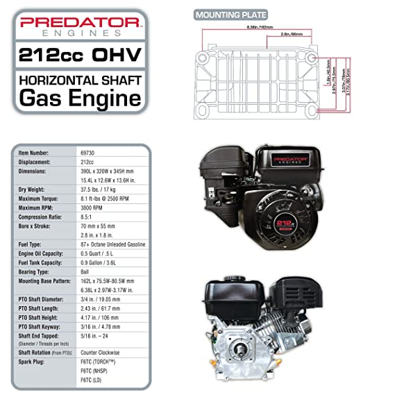 715YNMPIHJL._SX569_ amazon com predator 6 5 hp 212cc ohv horizontal shaft gas engine