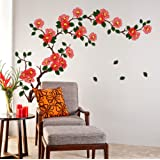 Decals Design StickersKart Wall Stickers Floral Branch Sofa Living Room Background Antique Flowers Vinyl Art (Multicolor)