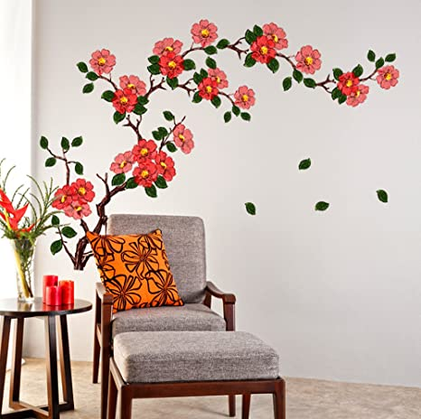 buy decals design floral branch antique flowers wall sticker pvc rh amazon in wall flower design painting wall flower design vector