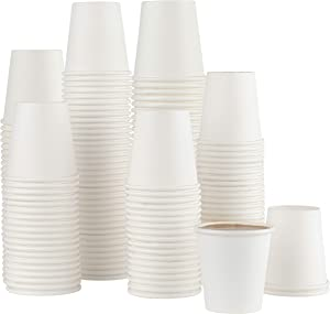 [200 Pack] 3 ounce Paper Hot Cups Disposable Coffee Cup for Bathroom, Espresso, Mouthwash, rinsing, Cups
