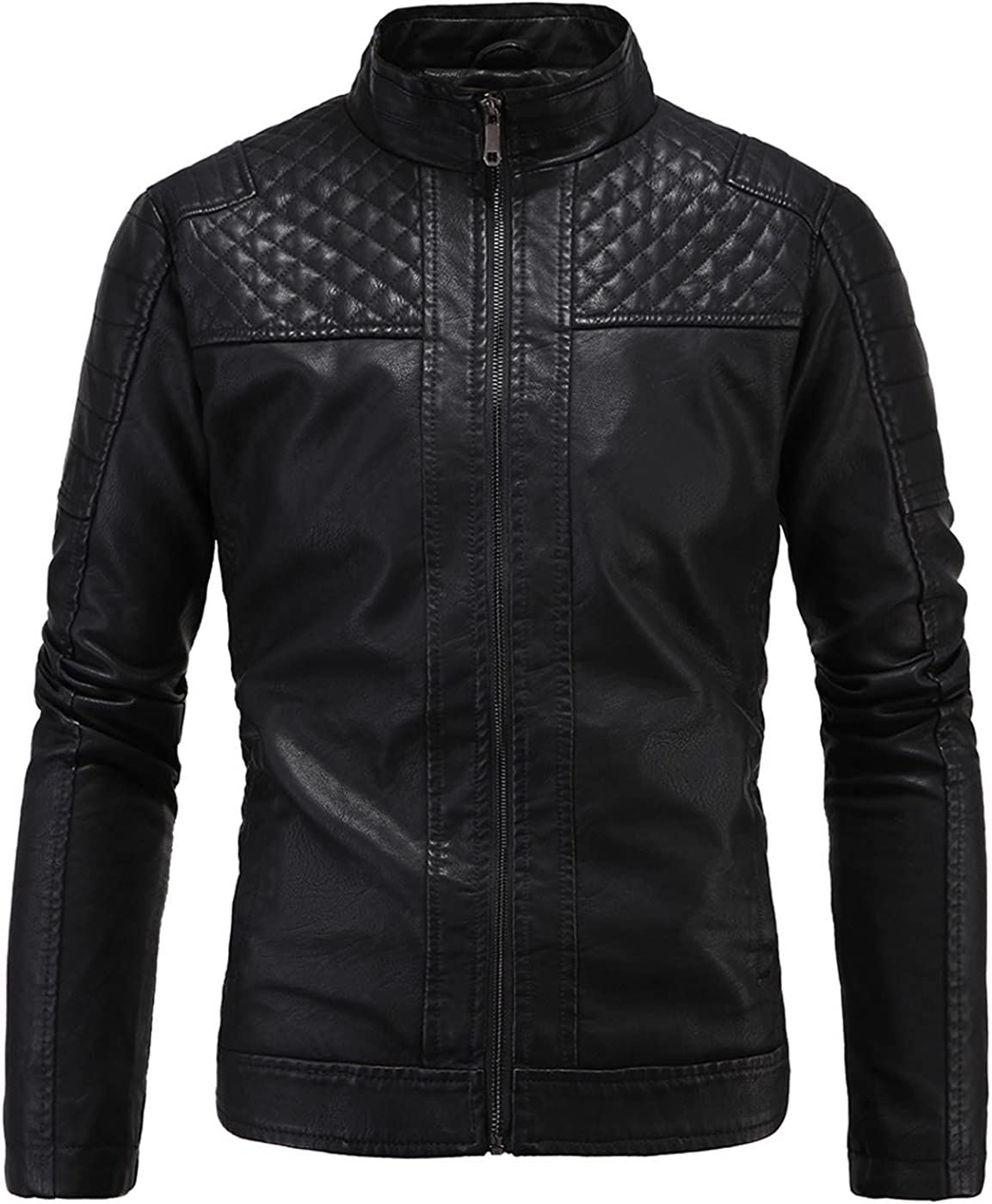 S/&S Men Fashion Stand Collar Zip-Up Faux Leather Plus velvet motorcycle Jacket