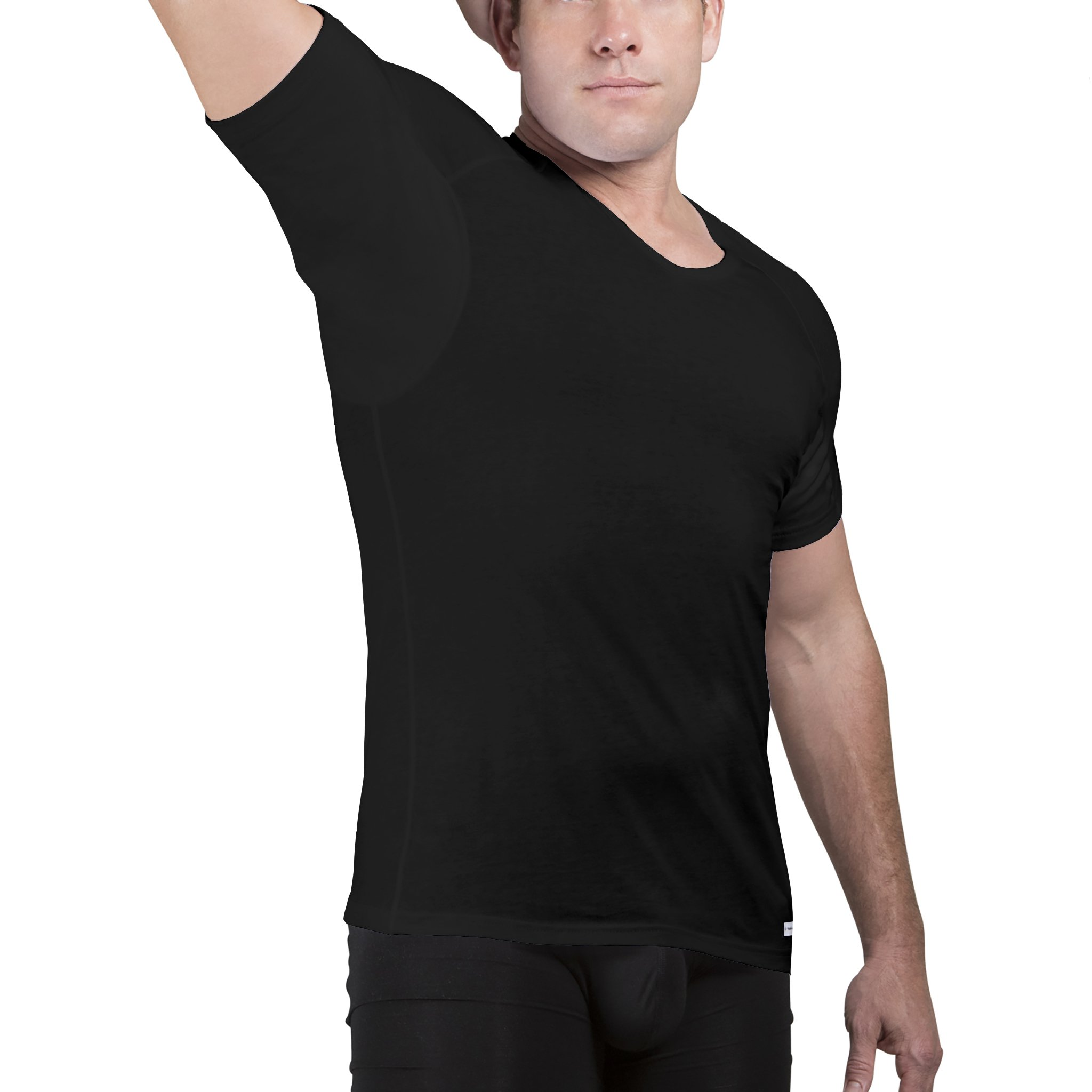 Ejis Sweatproof Undershirts for Men V Neck Cotton with Odor Fighting Silver (Medium, Black)