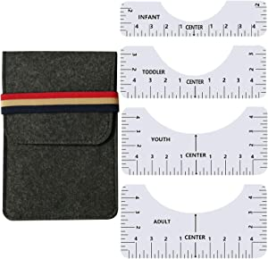 Tshirt Ruler - 4Pcs T-Shirt Ruler Guide for Vinly Alignment,Sublimation Designs,Htv,Heat Press,Vinly Placement,Center Design,with 1 Storage Bag