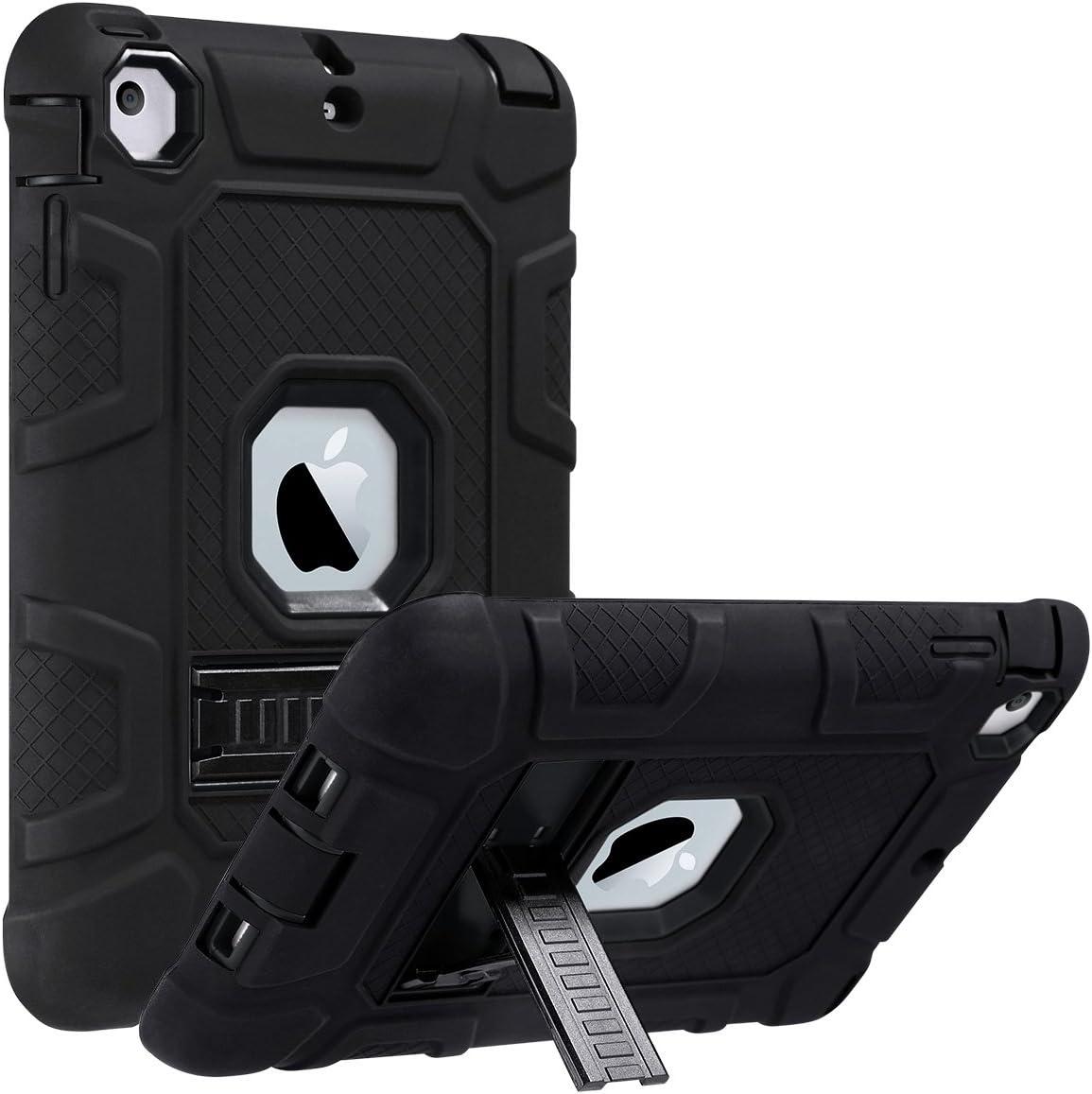 ULAK iPad Mini Case, iPad Mini 2 Case, iPad Mini 3 Case, iPad Mini Retina Case, Three Layer Heavy Duty Shockproof Protective Case for iPad Mini, iPad Mini 2, iPad Mini 3 with Kickstand (Black/Black)