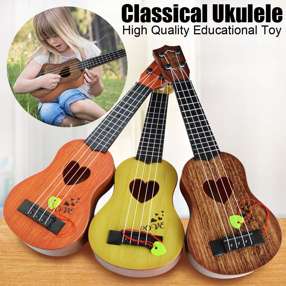 Regalo de Cumplea/ños para Ni/ños Ni/ñas Fiesta Juguete de Guitarra Ukelele Musical para Ni/ños,Guitarra Cl/ásica Juguete El/éctrico del Instrumento M/úsica para Principiante 39x12x3.5cm, Naranja