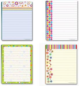 Fun Pattern Designs Pads - 4 Assorted Girl Designs Note Pads