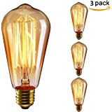 KINGSO 3pack E27 Edison Ampoule à Incandescence Vintage Lampe Filament Rétro ST64 40W 220V Blanc Chaud Idéal pour Décoration Luminaire Antique